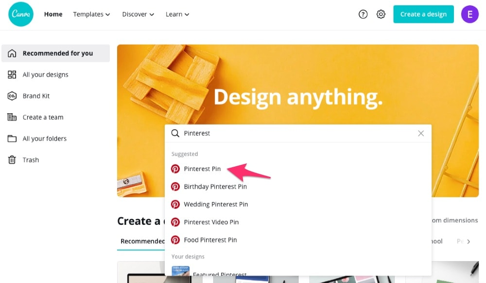 Design a pin on Canva