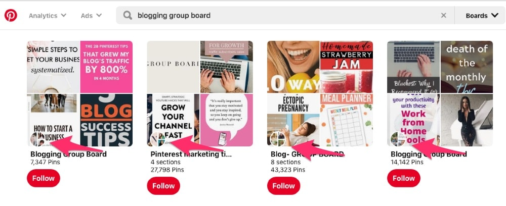 Join niche Pinterest group boards