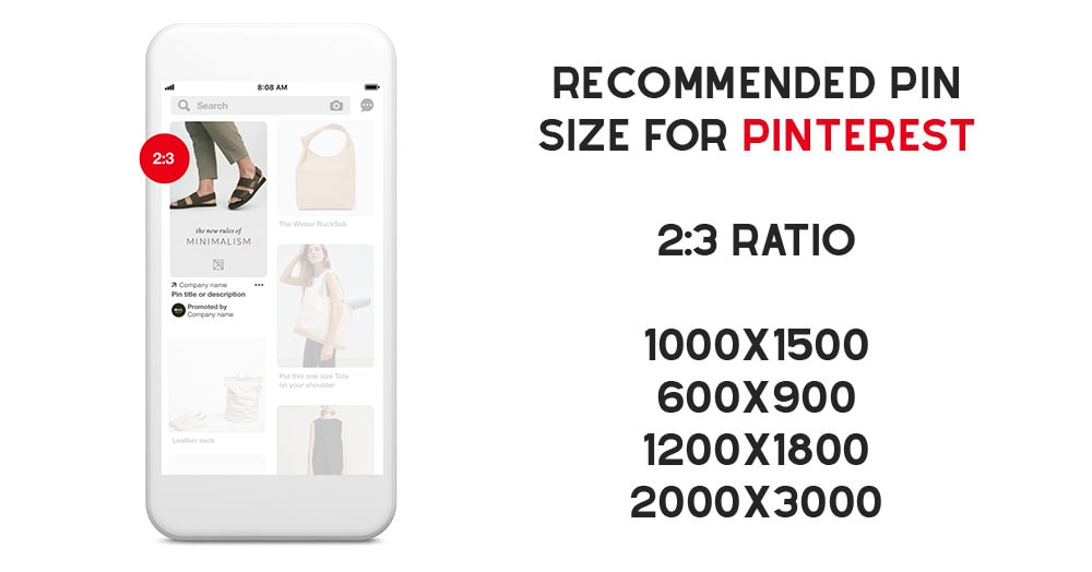 Recommended pin size for Pinterest