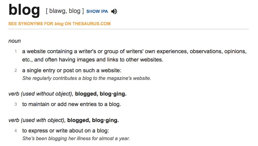 Definition of a blog